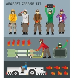 Aircraft carrier crew vector image