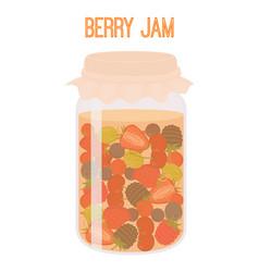 berries jam in mason jar canned vector image