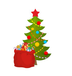 christmas tree and bag santa claus with gifts red vector image