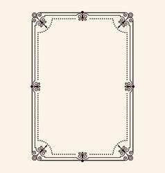frame with swirls in corners rectangular shape vector image