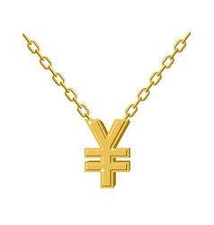 Gold Yen necklace Decoration chain Expensive vector image