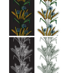 pattern seamless spikelets and flowers vector image