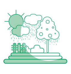 silhouette counds raining with tree and grid wool vector image vector image