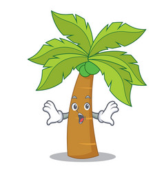surprised palm tree character cartoon vector image vector image