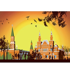 Tourists walk on Red Square in Moscow vector image vector image