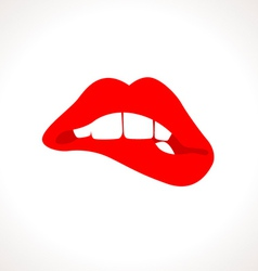 Woman Biting Lips Popart vector image