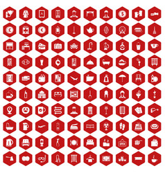 100 inn icons hexagon red vector image