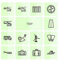 14 trip icons vector