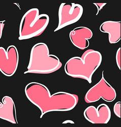 abstract seamless pattern with hearts and black vector image