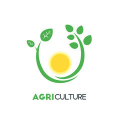 Agriculture business logo template with green vector