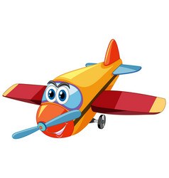 Airplane cartoon character with big eyes isolated vector