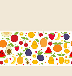 Background with cartoon fruit icons background vector