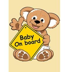 Baon board sign with teddy bear vector
