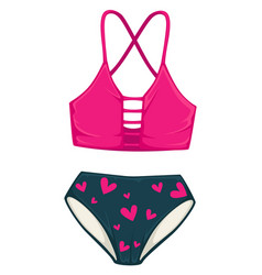 bathing suit with high waist panties summer vector image