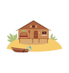 beach wooden house on ocean coast with boat flat vector image