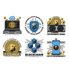 bitcoin cryptocurrency digital wallet blockchain vector image