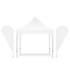 blank square canopy tent with two promo flags vector image