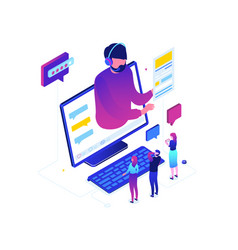 blogging online - modern colorful isometric vector image