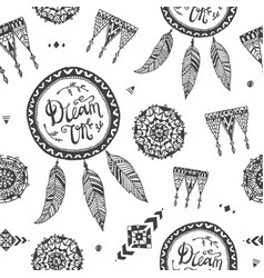 Boho style seamless pattern fabric vector