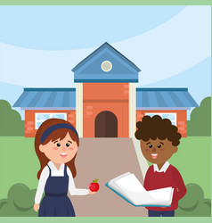 boy and girl in the school with education supplies vector image