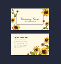 Business card mockups with sunflower design vector