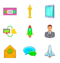 Business coaching icon set cartoon style vector