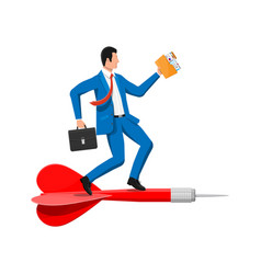 businessman on dart aim arrow to target vector image