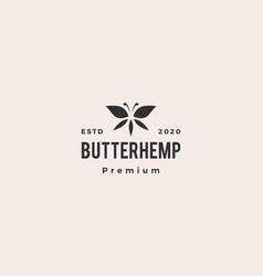 Butterhemp butterfly hemp cannabis leaf logo icon vector