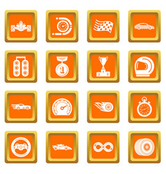 car race icons set orange square vector image