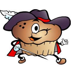 Cartoon a muffin musketeer vector