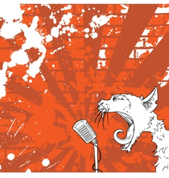 cat on the microphone vector image