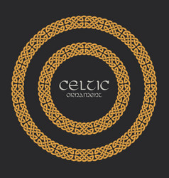 Celtic knot braided frame border circle ornament vector