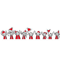 Cheering stick figures santa costume banner vector