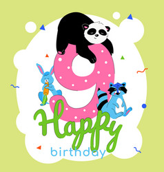 children 9th birthday greeting card vector image