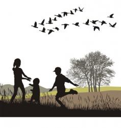 Children in autumn country vector
