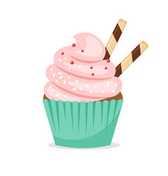 Chocolate muffin with pink frosting vector