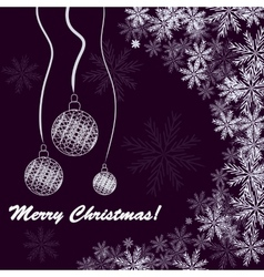 Christmas background with balls and snowfakes vector image