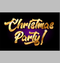 Christmas party 3d gold golden text metal logo vector