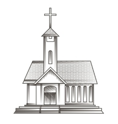 church in engraving style vector image