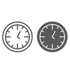 clock line and glyph icon time and dial watch vector image