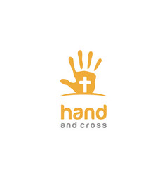 Cross kids hand paint christian baptist logo vector