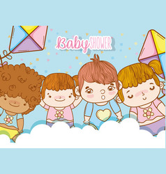 Cute babies in the clouds with kites toys vector