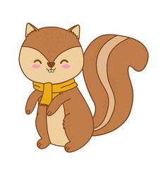 Cute chipmunk woodland character vector