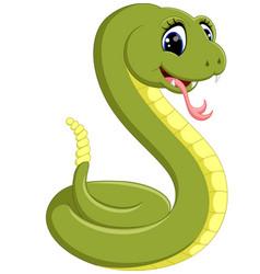 cute green snake cartoon vector image