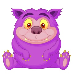Cute purple monster cartoon vector
