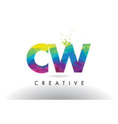 cw c w colorful letter origami triangles design vector image