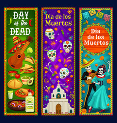 Dead day sugar skulls mariachi skeleton catrina vector