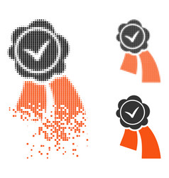 Dispersed dotted halftone validation seal icon vector