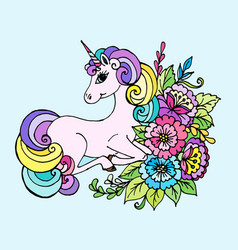Doodle unicorn lies in the colors vector