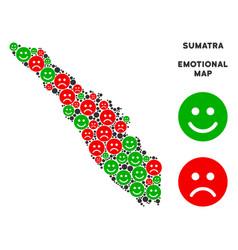 Emotional sumatra island map mosaic of vector
